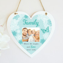 Family Sentiments - Hanging Heart With Photo Upload