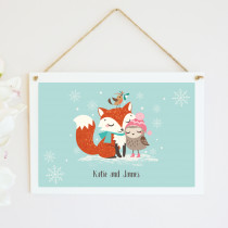 Personalised Christmas Fox And Owl - Hanging Plaque