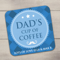 Personalised Blue Checked Coaster