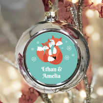Personalised Fox Couple - Christmas Bauble