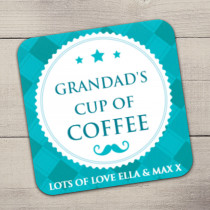 Personalised Teal Checked Coaster
