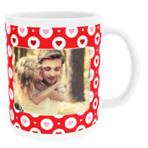Personalised Valentine Hearts In Circles with Photo Upload - Mug