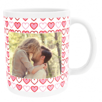 Personalised Valentine Pink Hearts with Photo Upload - Mug
