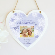 Personalised Sentimental Diamond Wedding Anniversary Photo Hanging Heart