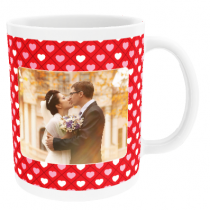 Personalised Valentine Checked Hearts with Photo Upload - Mug