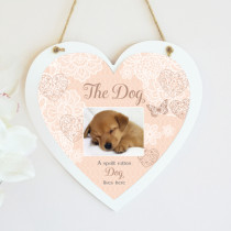 Sentiments Spoilt Dog - Hanging Heart With Photo Upload