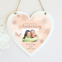 Personalised Sentimental Golden Wedding Anniversary Photo Hanging Heart