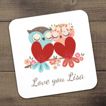 Personalised Love Owls Coaster