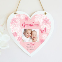 Personalised Sentimental Pink Grandma Photo Hanging Heart