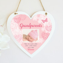 Sentiments Grandparents Pink - Hanging Heart With Photo Upload