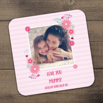 Personalised Pink Floral Frame Photo Coaster