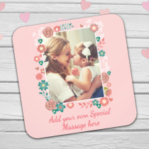 Personalised Floral Frame Photo Coaster