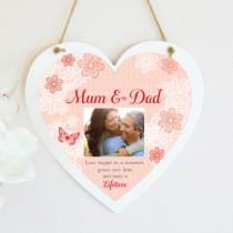 Personalised Sentiments Mum And Dad Photo Hanging Heart