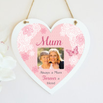 Personalised Sentiments Mum Photo Hanging Heart