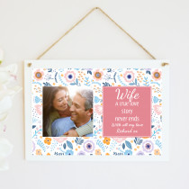 Personalised Wife Photo Hanging Plaque