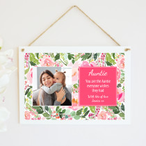 Personalised Auntie Photo Hanging Plaque