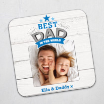 Fathers Day Personalised Best Dad In The World Photo Coaster