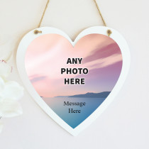 Personalised Photo Hanging Heart With Text - One Photo Upload