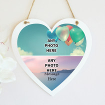 Personalised Photo Hanging Heart With Text - Two Photo Upload
