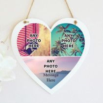 Personalised Photo Hanging Heart With Text - Three Photo Upload