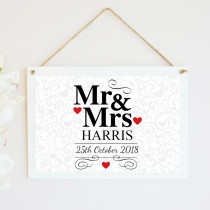 Personalised Mr And Mrs Hanging Plaque