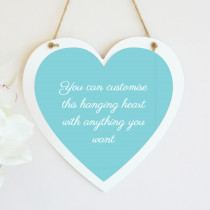 Personalised Hanging Heart With Text