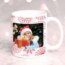 Personalised Christmas Red Snowflake Pattern with Photo Upload - Mug