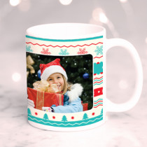 Personalised Christmas Stripe Pattern with Photo Upload - Mug