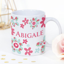 Personalised Pink and Blue Flowers Mug