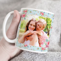 Personalised Pink And Teal Rose Pattern Photo Mug