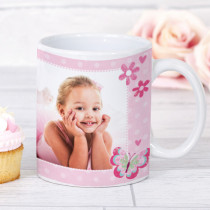 Personalised Pink Butterfly Photo Mug