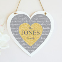 Christmas Family Heart Text Non Photo - Hanging Heart