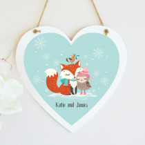 Christmas Fox And Owl Non Photo - Hanging Heart