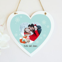 Christmas Fox And Owl Photo Upload - Hanging Heart