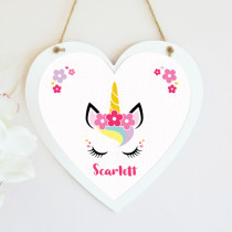 Personalised Unicorn Hanging Heart