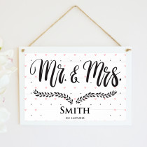 Personalised Mr And Mrs Wedding Hanging Plaque