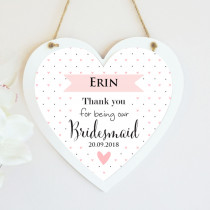 Personalised Bridesmaid Wedding Hanging Heart