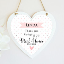Personalised Maid Of Honour Wedding Hanging Heart