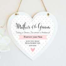 Personalised Mother Of The Groom Wedding Hanging Heart