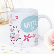 Personalised Cute Birdy With Flowers Mug