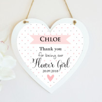 Personalised Flower Girl Wedding Hanging Heart