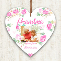 Personalised Grandma Photo Hanging Heart