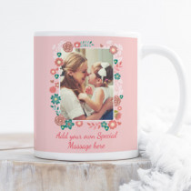 Personalised Pink Floral Frame Photo Mug