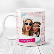 Personalised Pink Polaroid Photo Mug