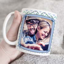 Personalised Blue Frame Photo Upload - Ceramic Mug