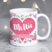 Personalised Textured Pink Heart Mug