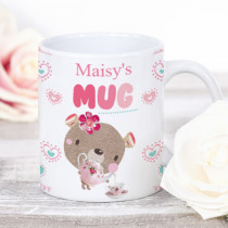 Personalised Bobbin Valley Cute Bear And Tea Cup Mug