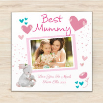 Personalised Mummy Luxury Fabric Photo Card