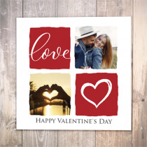 Valentines Day Love with four Photo Uploads - Luxury Greeting Card