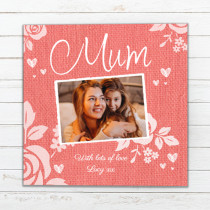 Personalised Mum Luxury Fabric Photo Card